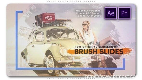 780笔刷特效图片视频开场Mogrt动画AE模版,Paint Brush Slides Opener