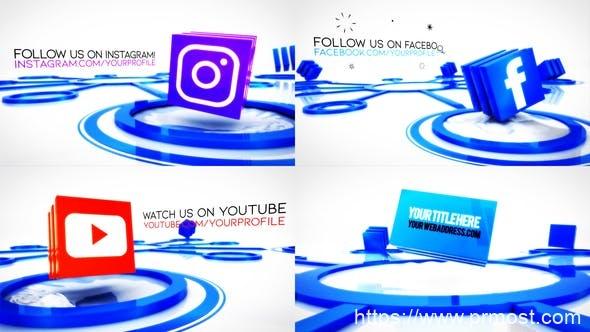 784社交媒体文字标题Mogrt动画Pr预设,Social Media Connections Titles