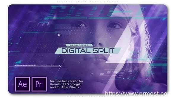 786数字科技视频开场Mogrt预设AE模版,Digital Split Media Opener