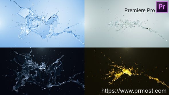 795水花logo演绎Pr模版,Water Splash Logo Reveal – Premiere Pro