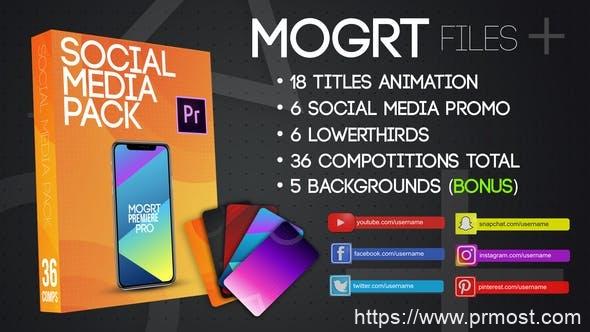 799社交媒体视频包装Mogrt动画Pr预设,Social Media Pack MOGRT