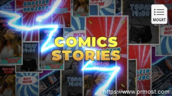 806动漫卡通创意视频Mogrt动画Pr预设,Comics Instagram Stories - MOGRT