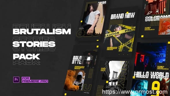 812INS手机竖屏图片包装Pr模版AE模版,Brutalism Instagram Stories