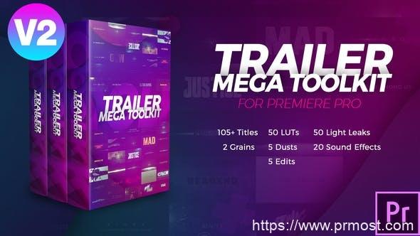 813创意文字特效调色预设视频包装Mogrt预设Pr模版,Trailer Mega Toolkit Premiere Pro