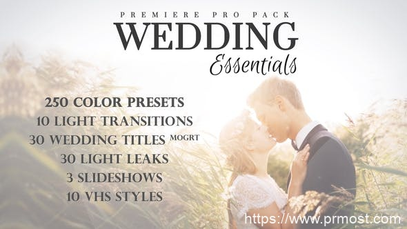 823婚礼文字特效Mogrt动画Pr预设AE模版,Wedding Essentials Pack for Premiere Pro