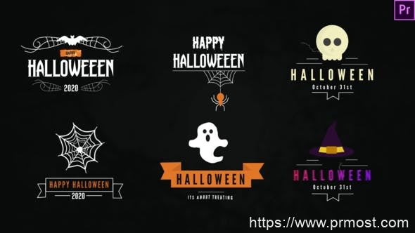 829创意文字标题动画Pr模版,Halloween Titles Pack-Premiere Pro