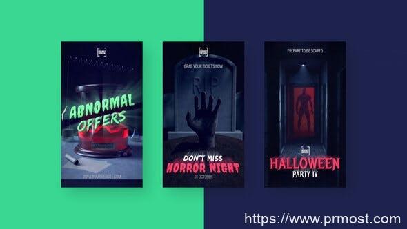831创意竖屏视频包装Pr模版,Halloween Scary Stories
