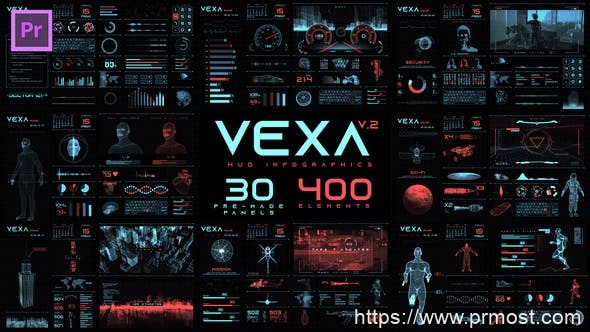 834高科技HUD界面mogrt动画Pr预设,Vexa HUD Infographics Essential Graphics