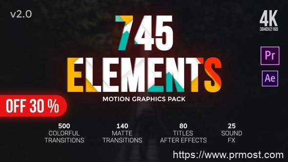 836转场过渡特效Mogrt动画Pr预设AE模版,Transitions Pack
