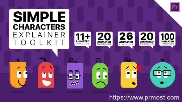 839简洁角色卡通Mogrt动画Pr预设,Simple Characters Explainer Toolkit