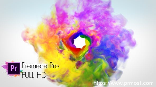 841多彩烟雾特效logo演绎Pr模版,Colorful Smoke Logo Reveal – Premiere Pro