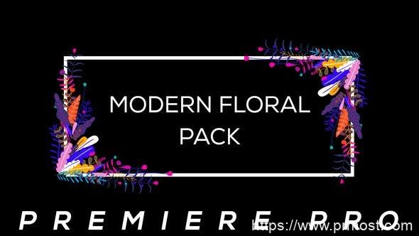 850现代创意视频包装Mogrt动画Pr预设,Modern Flower Pack