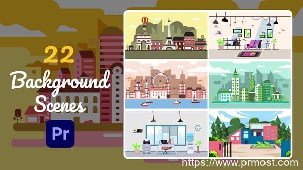 855-22组卡通背景场景视频Pr模版,22 Background Scenes