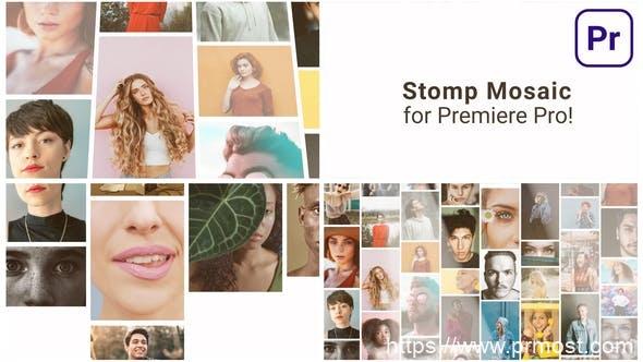 868-AE模板+PR预设 照片墙Logo动画,Mosaic Stomp Multi Photo Logo 31535403
