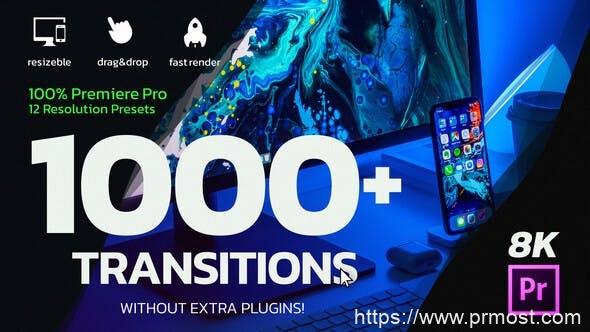 895Premiere/PR模板-1000+摄像机扭曲冲击旋转移动无缝视频转场V1.1,1000 Premiere Pro Transitions 26058666