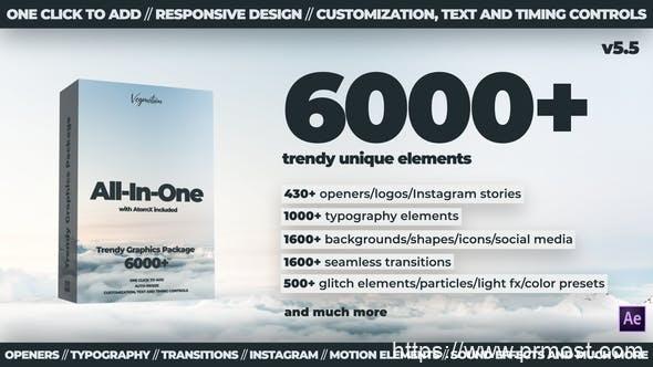900AE脚本+PR预设-6000+多种运动图形文字标题动画转场动态背景工具包V5.3 破解版 24321544-All-In-One 5.3