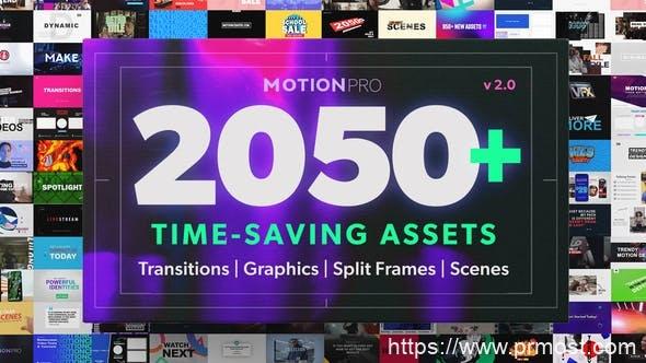 901Premiere/PR模板预设-2050组文字标题字幕条图形背景排版动画视频转场预设V2,Motion Pro All-In-One Premiere Kit V2