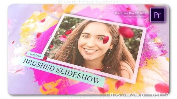 907AE模板+PR预设 笔刷遮罩照片相册展示片头 Brushed Petals Slideshow 32919657