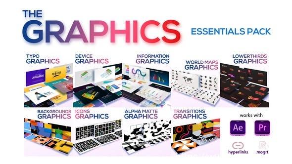 910AE模板+PR预设 文字标题排版图形图标背景动画 The Graphics Essentials Pack 23452149