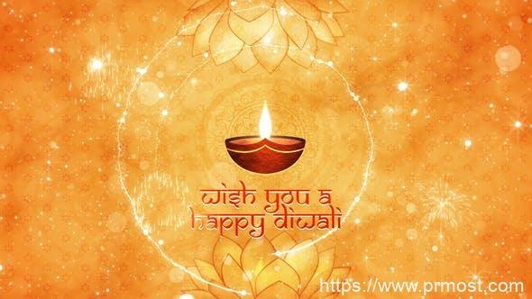 922光效粒子特效Mogrt动画Pr预设AE模版,Diwali Wishes Intro Mogrt