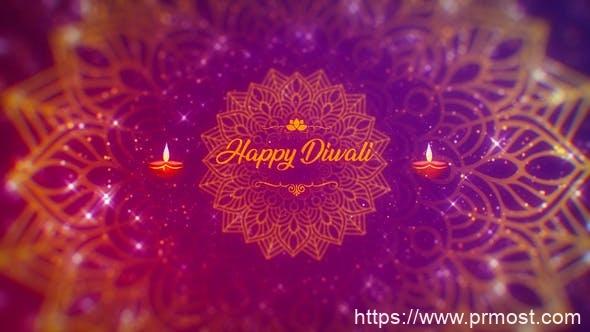 923粒子光效节日标题动画Mogrt动画Pr预设,Diwali Wishes Logo Mogrt