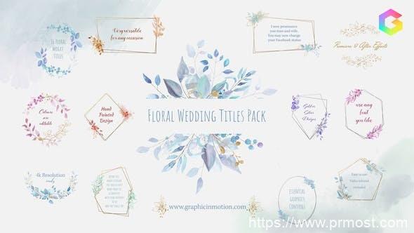 925婚礼标题Mogrt动画Pr预设,Floral Watercolour Wedding Titles Pack